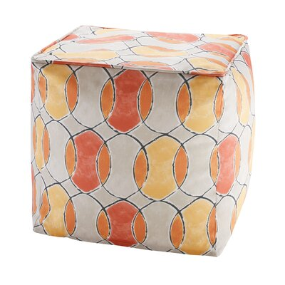 Dahlia Printed Circles 3M Scotchgard Outdoor Pouf Ottoman Upholstery: Orange/Pink