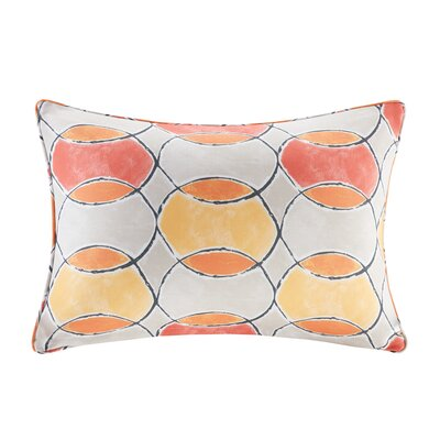 Dahlia Printed Circles 3M Scotchgard Outdoor Oblong Lumbar Pillow Color: Orange/Pink