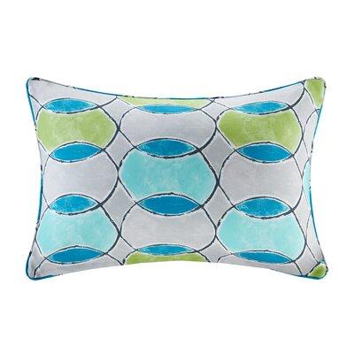 Dahlia Printed Circles 3M Scotchgard Outdoor Oblong Lumbar Pillow Color: Blue/Green