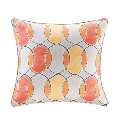 Dahlia Printed Circles 3M Scotchgard Outdoor Square Throw Pillow Color: Orange/Pink
