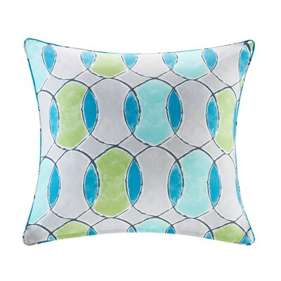 Dahlia Printed Circles 3M Scotchgard Outdoor Square Throw Pillow Color: Blue/Green