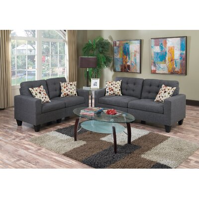 Cassandra 2 Piece Living Room Set Upholstery: Blue Gray
