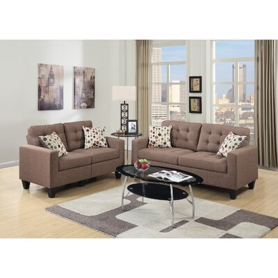 Cassandra Sofa and Loveseat Set Upholstery: Coffee Tan