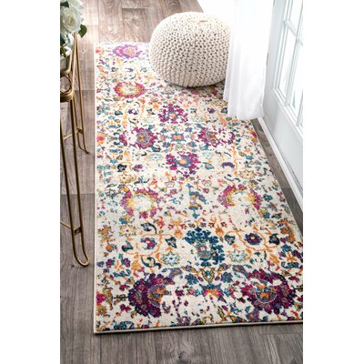 Arcand Yellow/White Area Rug Rug Size: Runner 28 x 8