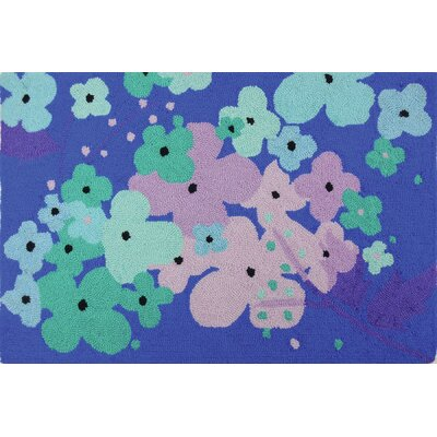 Donnellan Flowers Blue Turquoise Area Rug