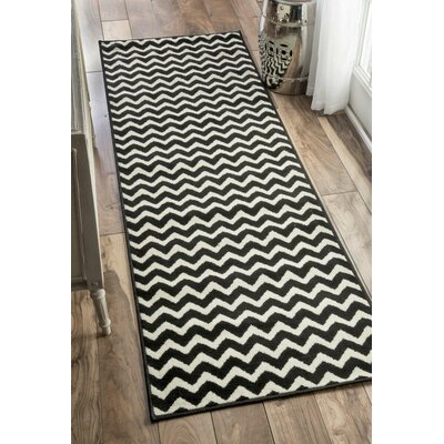Elisa Chevron White/Black Area Rug Rug Size: 28 x 411