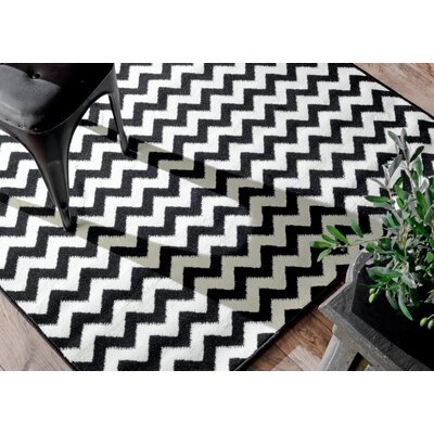 Cunningham Chevron White/Black Area Rug Rug Size: Rectangle 53 x 79