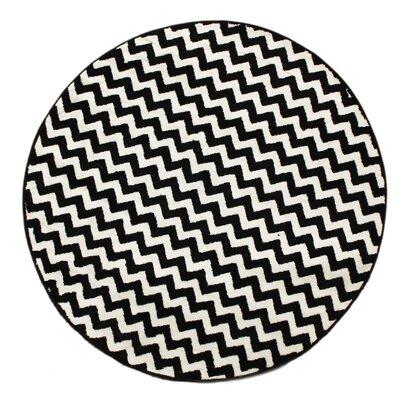 Elisa Chevron White/Black Area Rug Rug Size: Round 53
