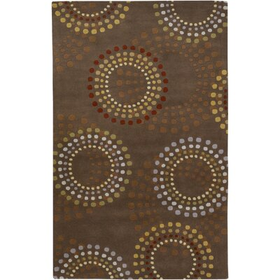 Dewald Chocolate/Gold Area Rug Rug Size: Round 4