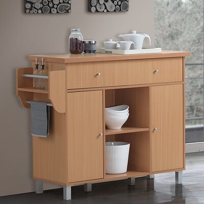 Racquel Kitchen Island with Spice Rack and Towel Rack Base Finish: Beech