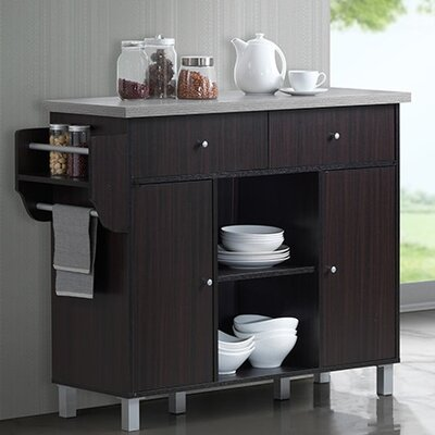 Racquel Kitchen Island with Spice Rack and Towel Rack Base Finish: Chocolate/Gray