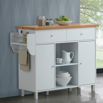 Racquel Kitchen Island with Spice Rack and Towel Rack Base Finish: White