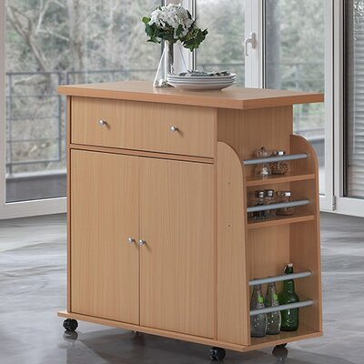 Stockbridge Kitchen Island with Spice Rack and Towel Rack Base Finish: Beech