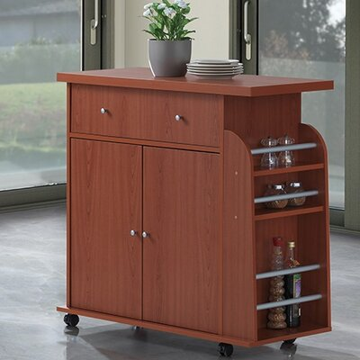 Stockbridge Kitchen Island with Spice Rack and Towel Rack Base Finish: Cherry