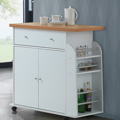 Stockbridge Kitchen Island with Spice Rack and Towel Rack Base Finish: White