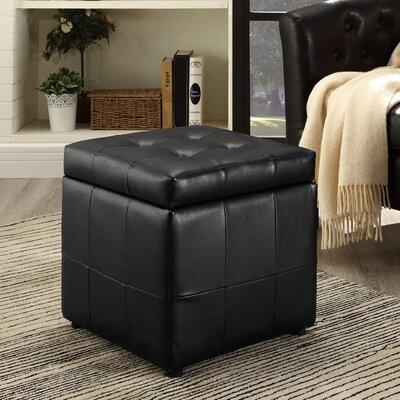 Caroline Storage Cube Ottoman Upholstery: Black