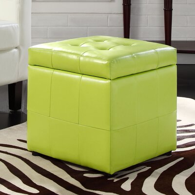 Caroline Storage Cube Ottoman Upholstery: Light Green