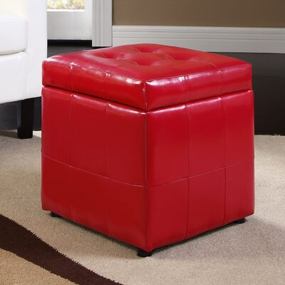 Caroline Storage Cube Ottoman Upholstery: Red