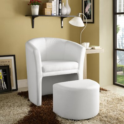 Cordie Barrel Chair and Ottoman Upholstery: White