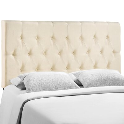 Sasha Upholstered Panel Headboard Size: Full, Upholstery: Ivory