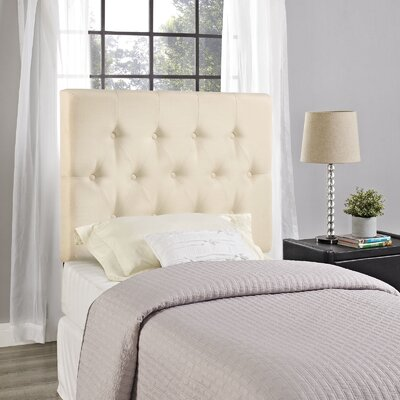 Sasha Upholstered Panel Headboard Size: Twin, Upholstery: Ivory