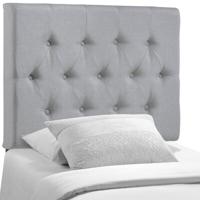 Sasha Upholstered Panel Headboard Upholstery: Gray, Size: Twin