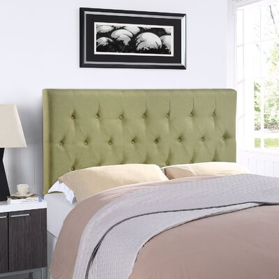Sasha Upholstered Panel Headboard Size: Queen, Upholstery: Green