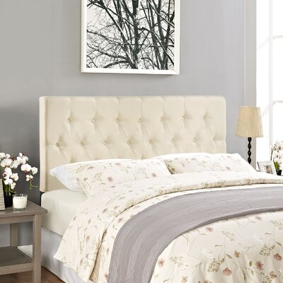 Sasha Upholstered Panel Headboard Size: Queen, Upholstery: Ivory