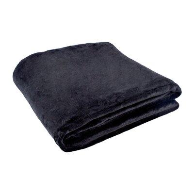 Morgana Solid Plush Blanket Size: 80 H x 60 W x 0.5 D, Color: Black