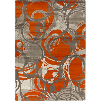 Clifford Machine Woven Orange Area Rug Rug Size: 52 x 76
