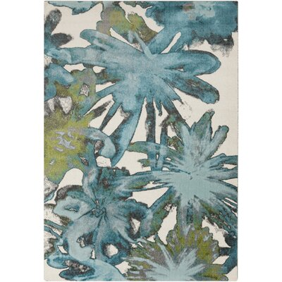 Audrina Teal Floral Area Rug Rug Size: Rectangle 76 x 106