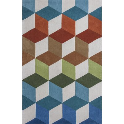 Courtney Kaleidoscope Hand Woven Coral/Blue Area Rug Rug Size: 79 x 99