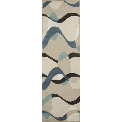 Wilton Orbit Ivory/Blue Area Rug Rug Size: 23 x 39