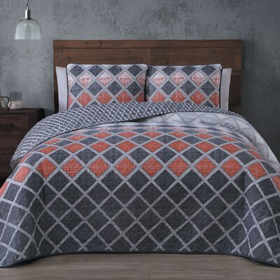 Siona 3 Piece Quilt Set Color: Spice, Size: King