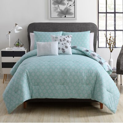 Annabel 5 Piece Reversible Comforter Set Size: King