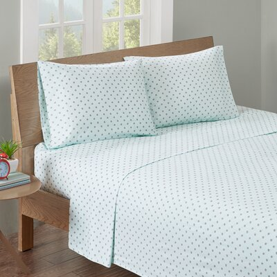 Aspen Printed Cotton Sheet Set Size: Full, Color: Blue