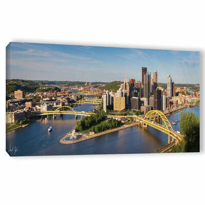 'Pittsburgh Skyline Panoramic' Photographic Print on Wrapped Canvas Size: 12