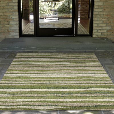 Deray Waves Rug Green/Beige Indoor/Outdoor Area Rug Rug Size: 33 x 411