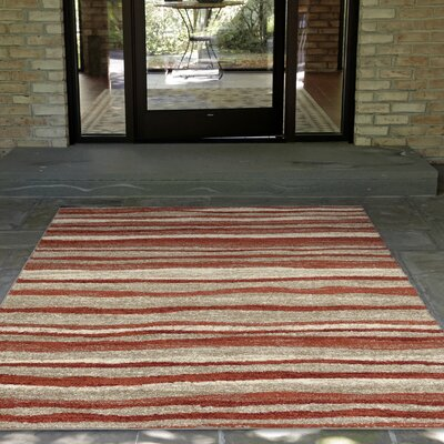 Deray Waves Orange/Beige Indoor/Outdoor Area Rug Rug Size: 33 x 411