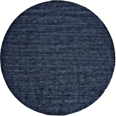 Morton Hand-Loomed Dark Blue Area Rug Rug Size: Round 10