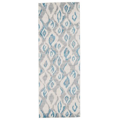Cooper Ivory/Blue Area Rug Rug Size: Runner 21 x 71