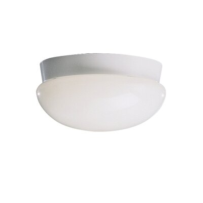 Stevens Flush Mount in Brushed Nickel Finish: White, Size: 5H x 10 dia.