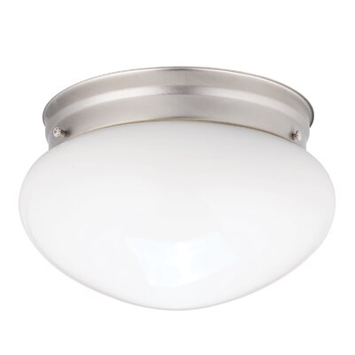 Stevens 1-Light 60W Flush Mount (Set of 12) Finish: Brushed Nickel