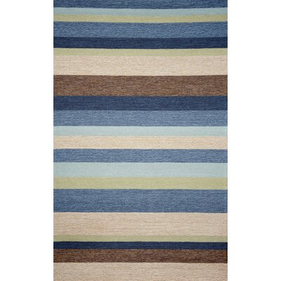 Derby Stripe Denim Indoor/Outdoor Rug Rug Size: 36 x 56
