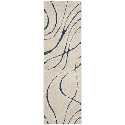 Enrique Cream/Blue Area Rug Rug Size: Runner 23 x 7