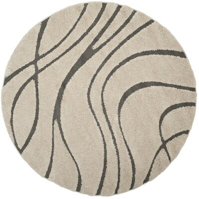Enrique Cream/Gray Area Rug Rug Size: Round 67