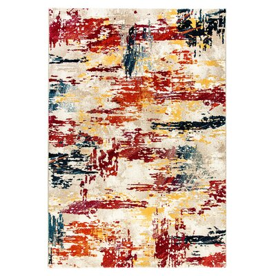 Bridget Yellow/Gray/Red Area Rug Rug Size: 53 x 77