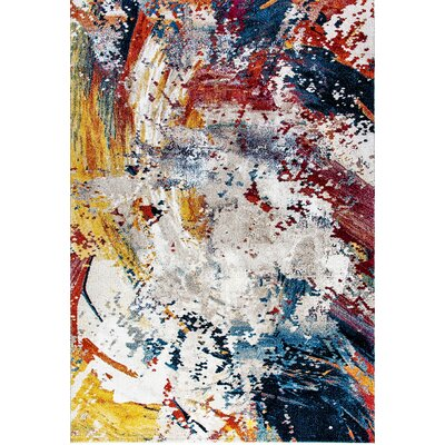 Donnellson Yellow/Blue/Red Area Rug Rug Size: 53 x 77