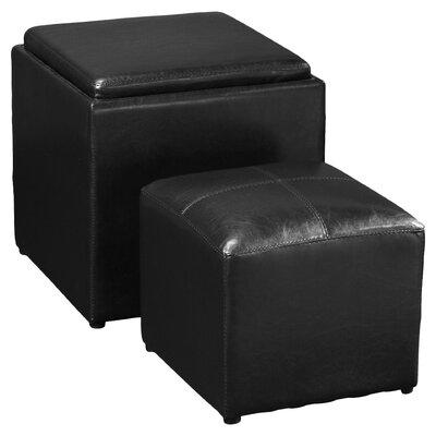 Marla 2 Piece Storage Ottoman Set Upholstery: Black