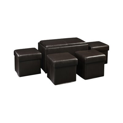 Marla 5 Piece Bench with Storage & Side Ottoman Set